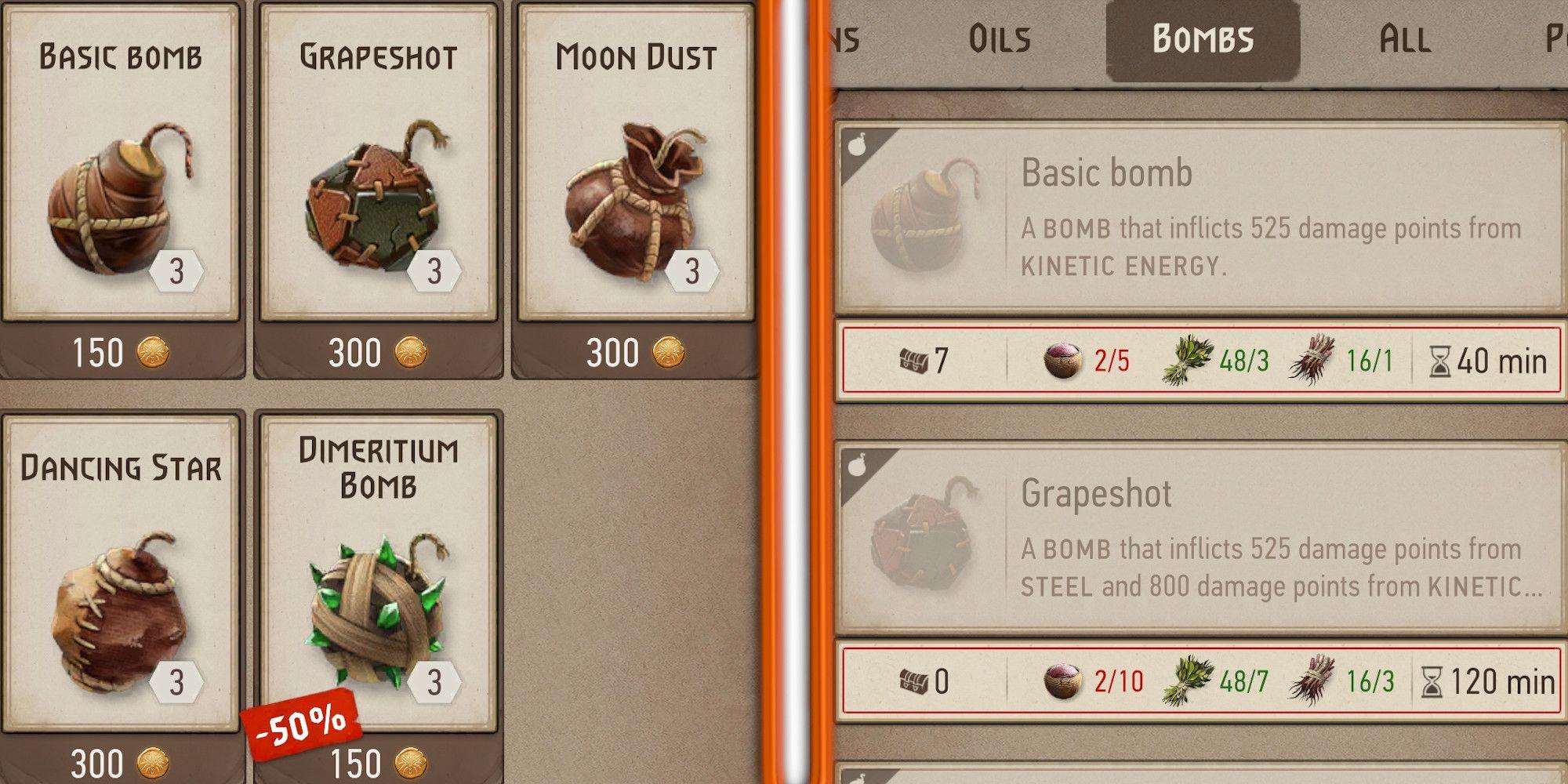 The Witcher Monster Slayer: todas las bombas disponibles en el juego