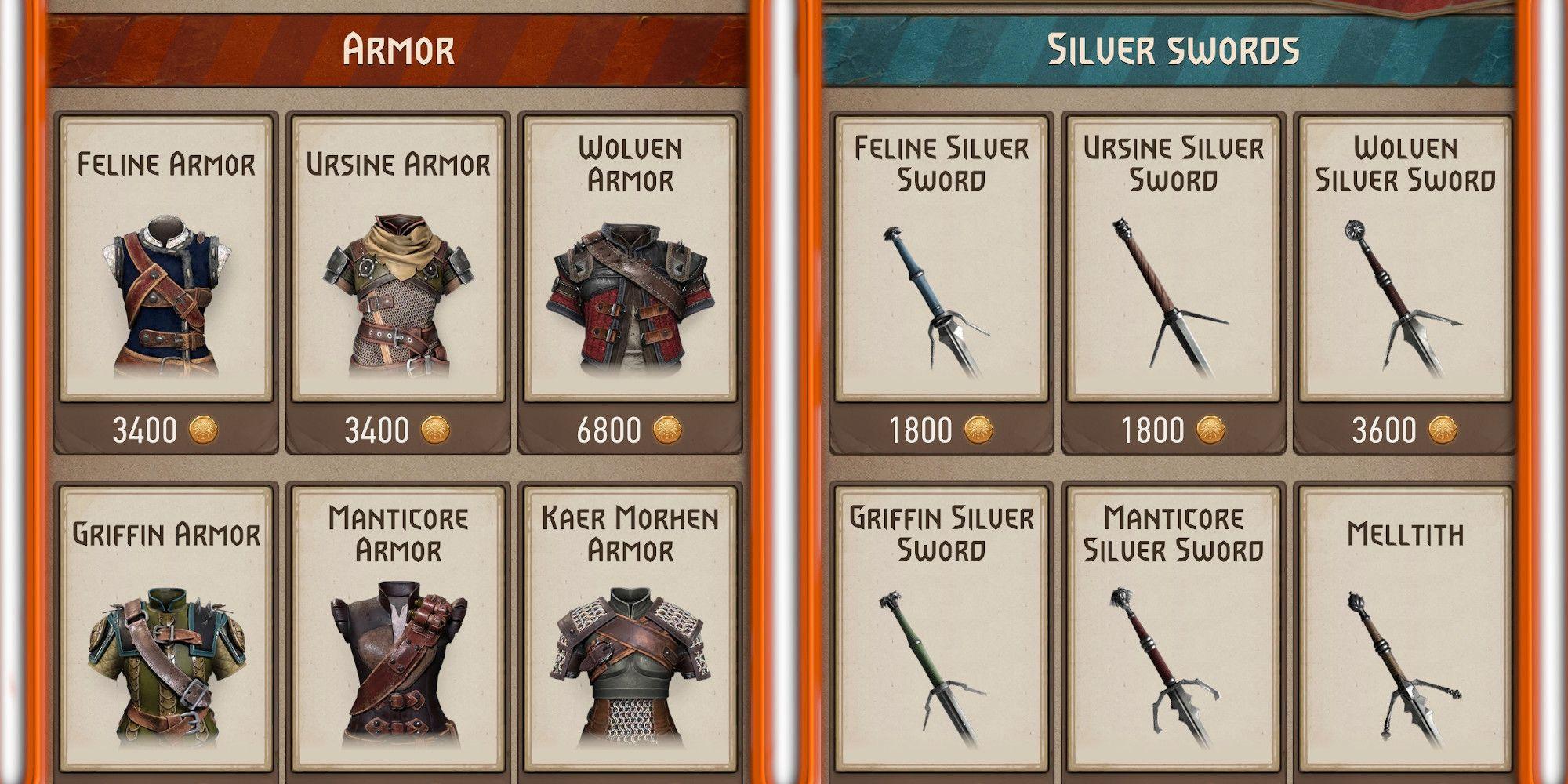 Todo el equipo disponible en The Witcher: Monster Slayer, y para qué guardar tu moneda
